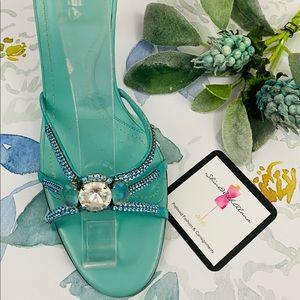 VIA SPIGA Jewel Turquois Leather Heels Sandals 10M